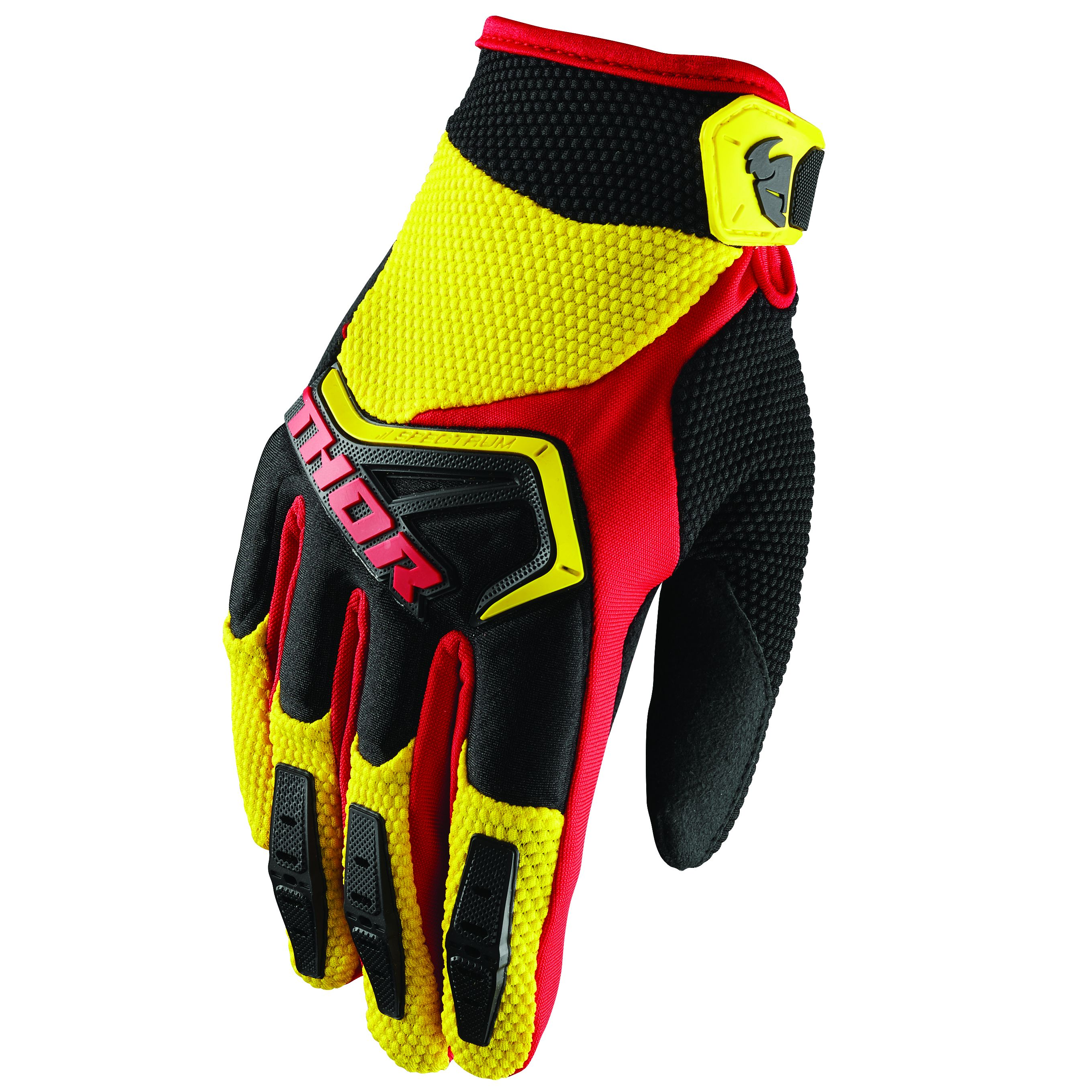 Gants cross Thor SPECTRUM YELLOW BLACK RED ENFANT