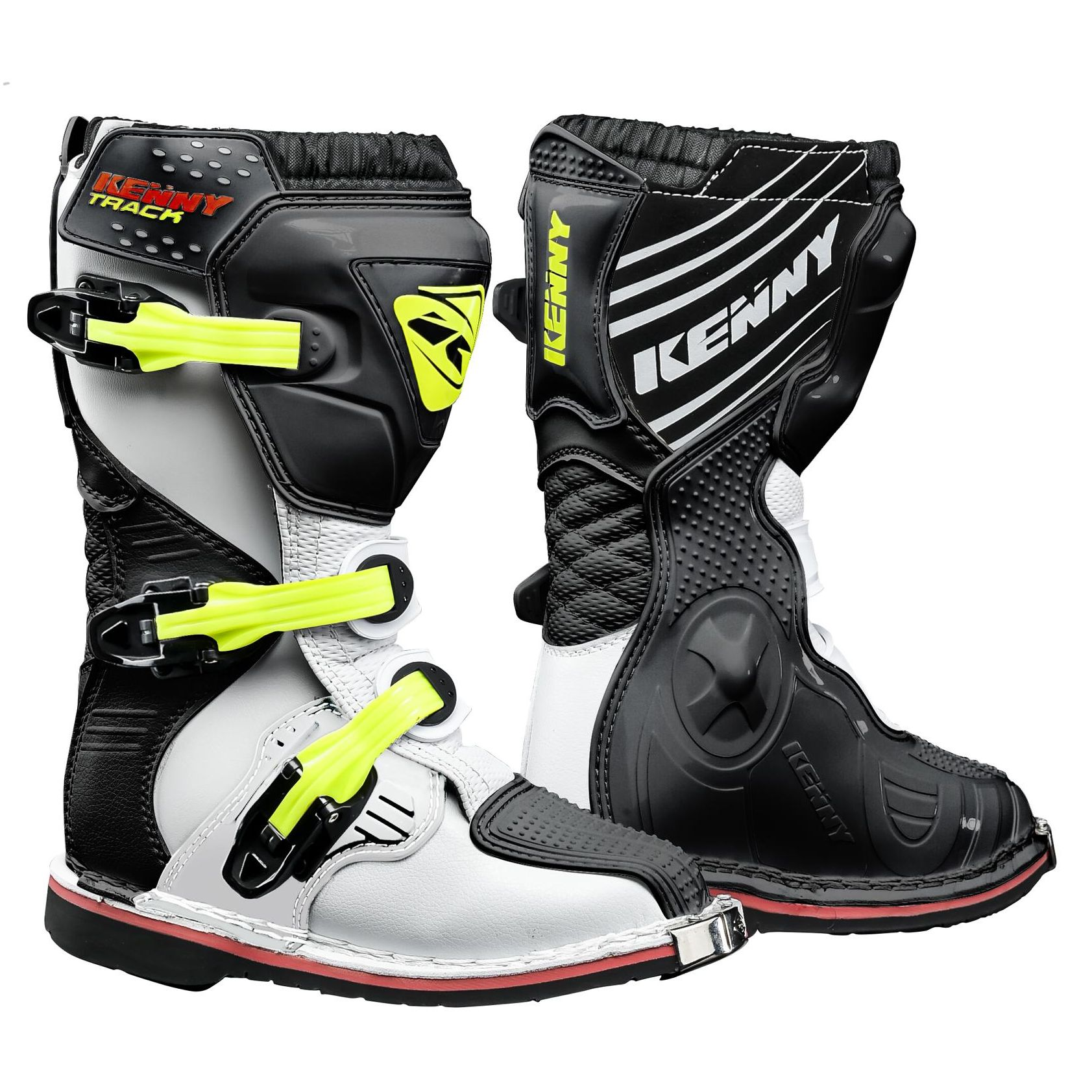 Bottes cross Kenny TRACK JUNIOR - BLANC NOIR JAUNE FLUO