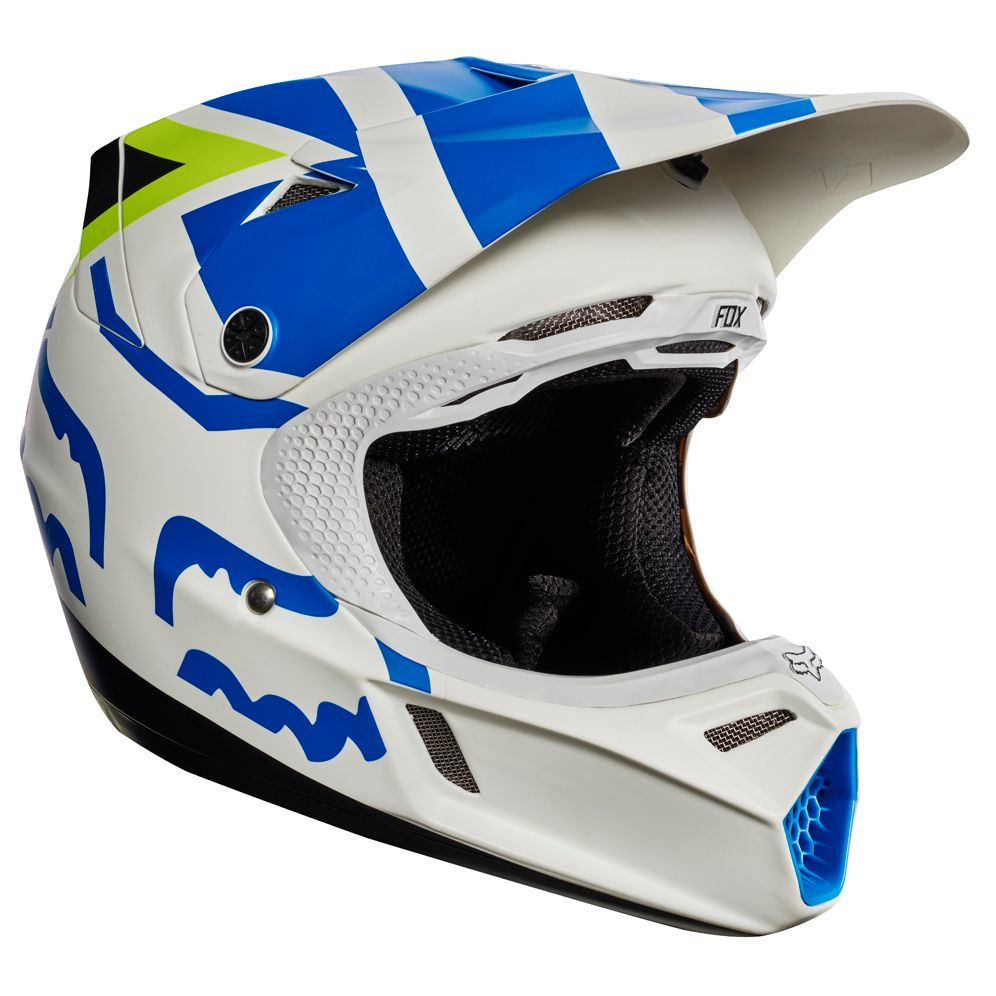 Casque cross Fox destockage V3 YOUTH CREO  - BLANC JAUNE (mat/brillant)