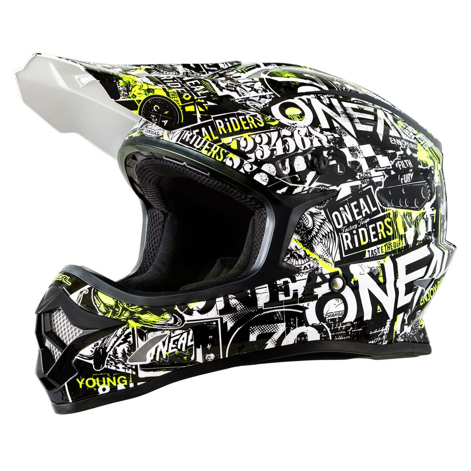 Casque cross O'Neal 3 SERIES YOUTH - ATTACK - BLACK HI-VIZ