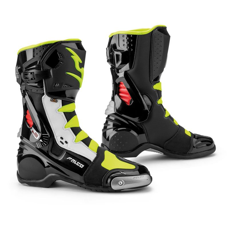 Bottes Falco ESO RACE BLACK WHITE RED FLUO