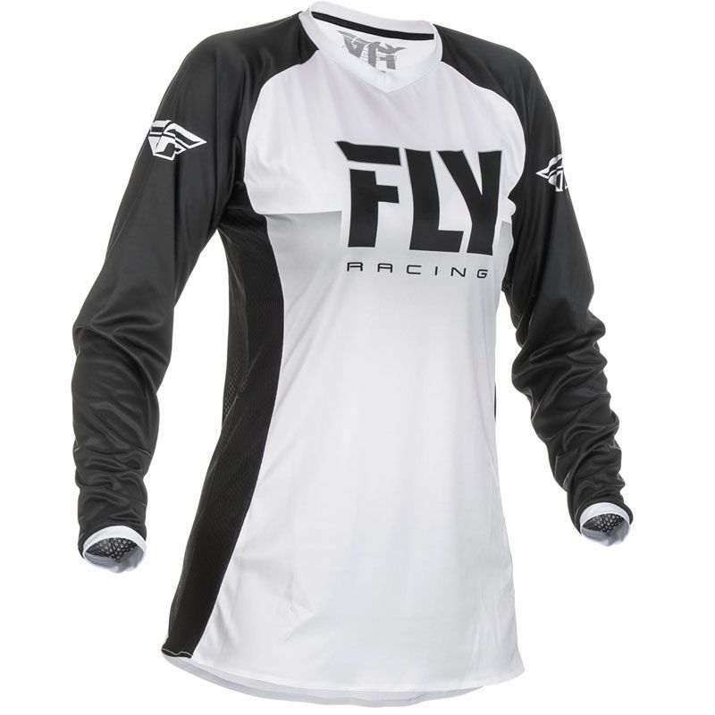 Maillot cross Fly WOMEN'S LITE - WHITE BLACK 2019