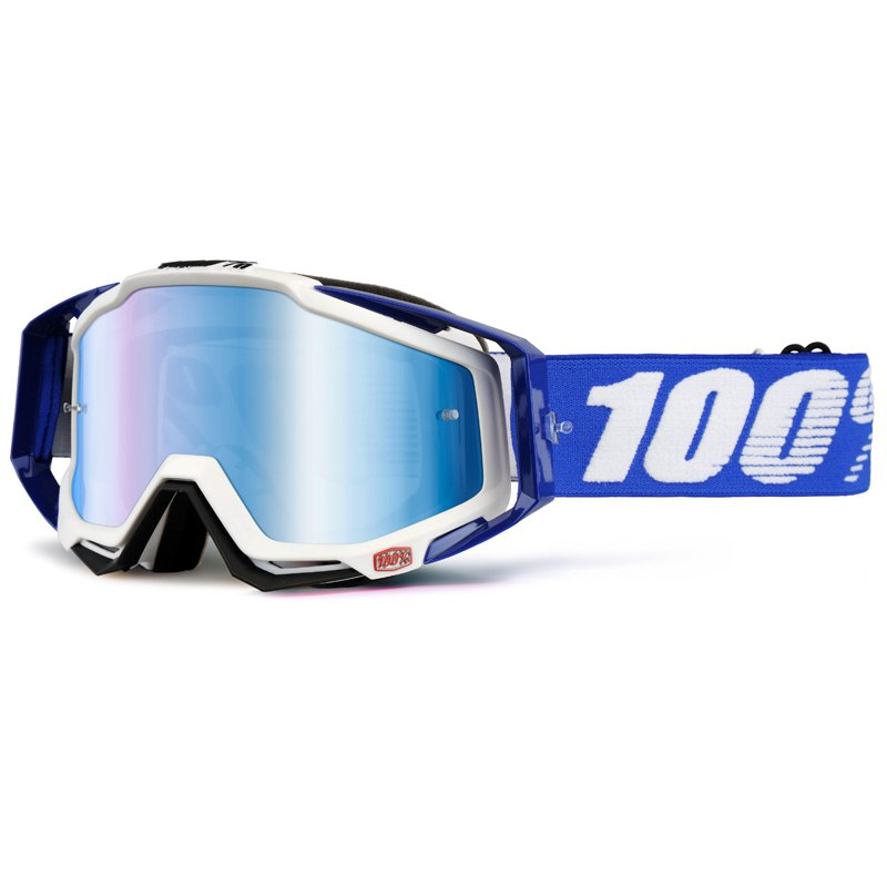 Masque cross 100% RACECRAFT - COBALT BLEU - ECRAN IRIDIUM -  2018
