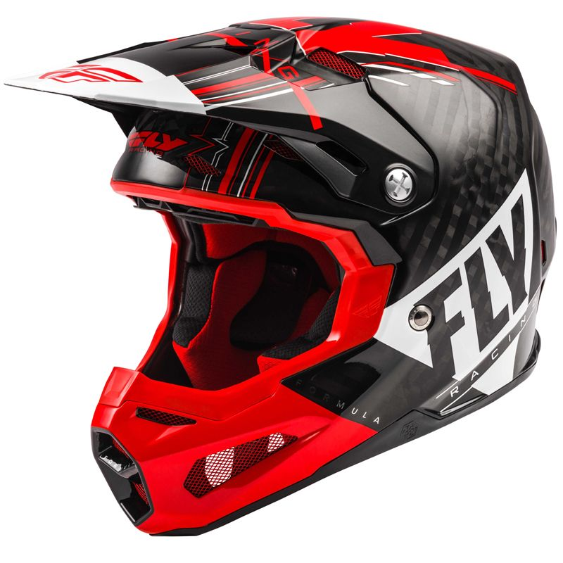 Casque cross Fly FORMULA CARBON VECTOR RED WHITE BLACK 2020