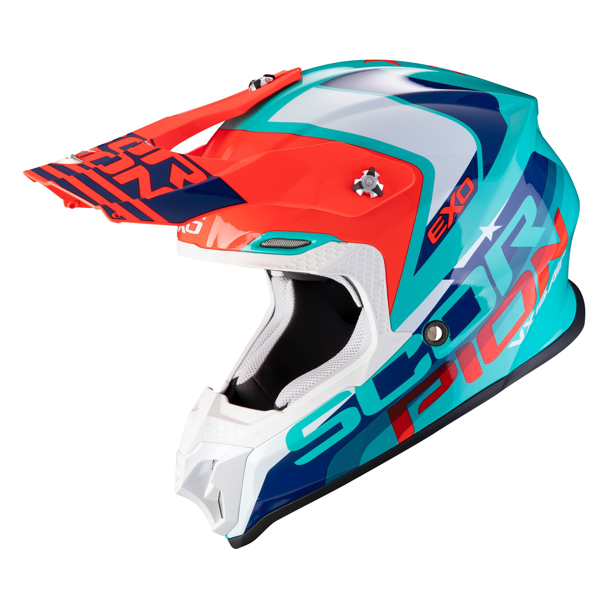 Casque cross Scorpion Exo VX-16 AIR - NATION - GREEN BLUE RED 2020