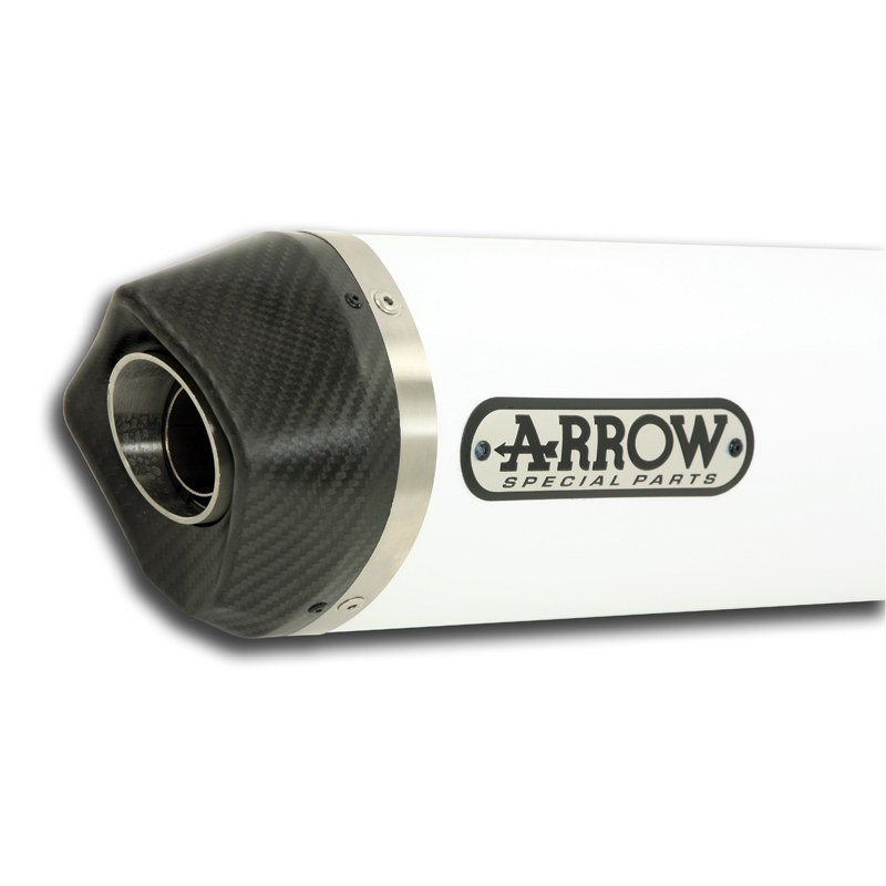 Silencieux Arrow Alu blanc Maxi race-tech embout carbone