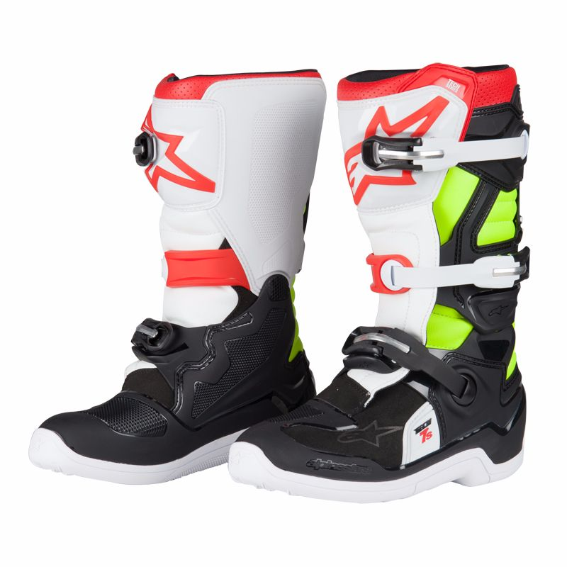 60e702579d0996 Bottes cross TECH 7S BLACK RED YELLOW FLUO Black Red Yellow