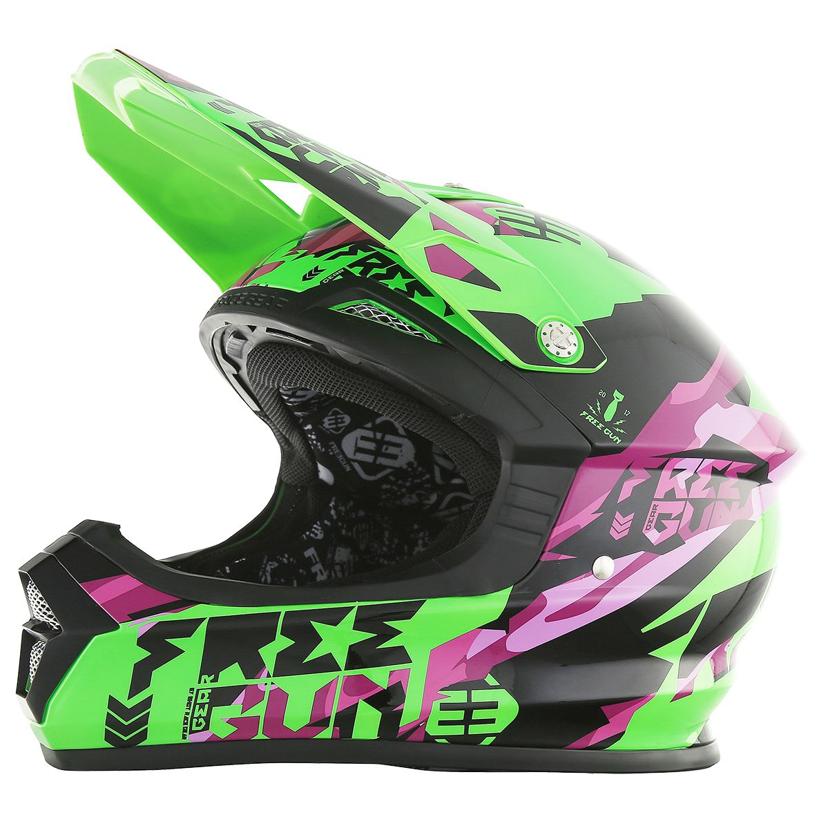 Casque cross Shot destockage XP4 HONOR NEON VERT VIOLET  2017