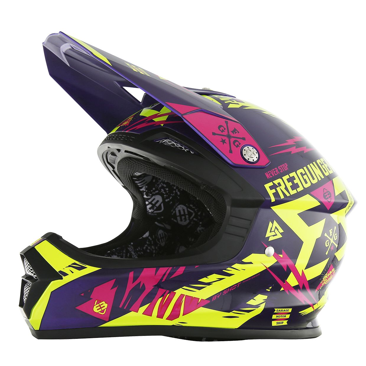 Casque cross Shot destockage XP4 TROOPER NEON JAUNE MAGENTA ENFANT