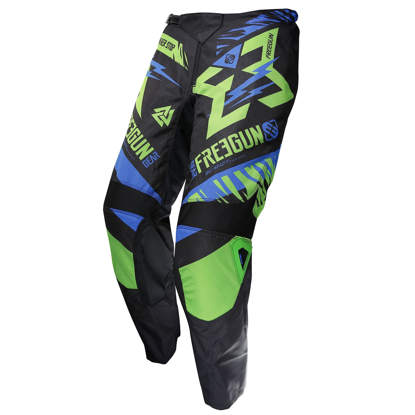 Pantalon cross Shot destockage DEVO TROOPER NEON VERT BLEU ENFANT