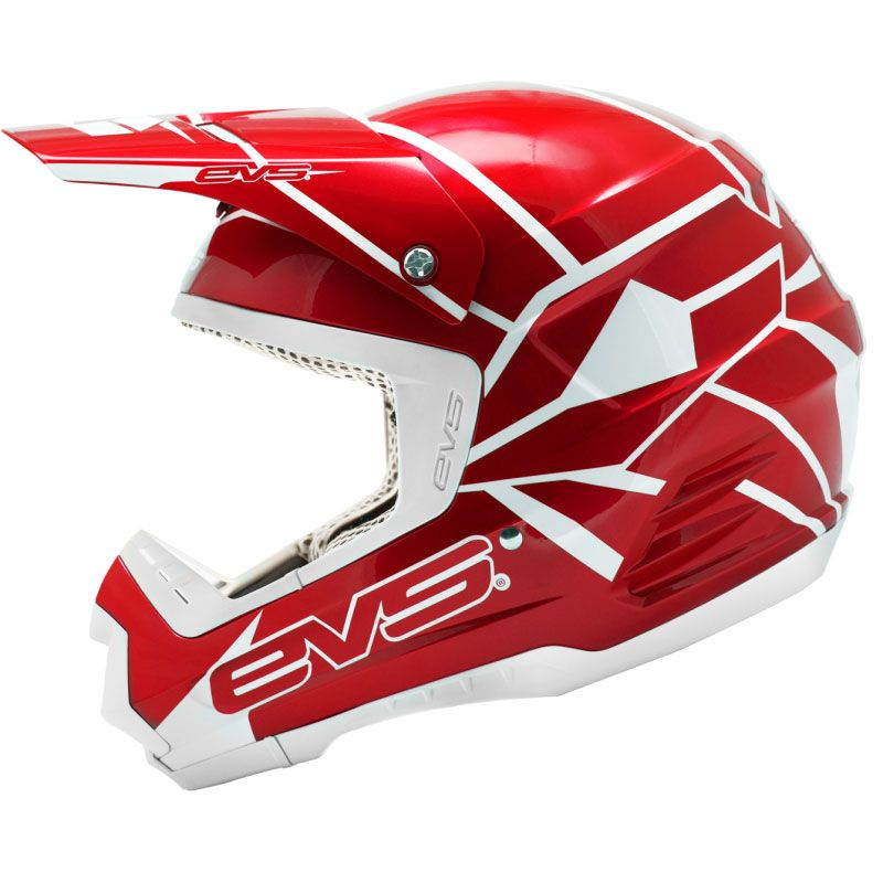 Casque cross EVS T5 NEON BLOCKS RED  2017