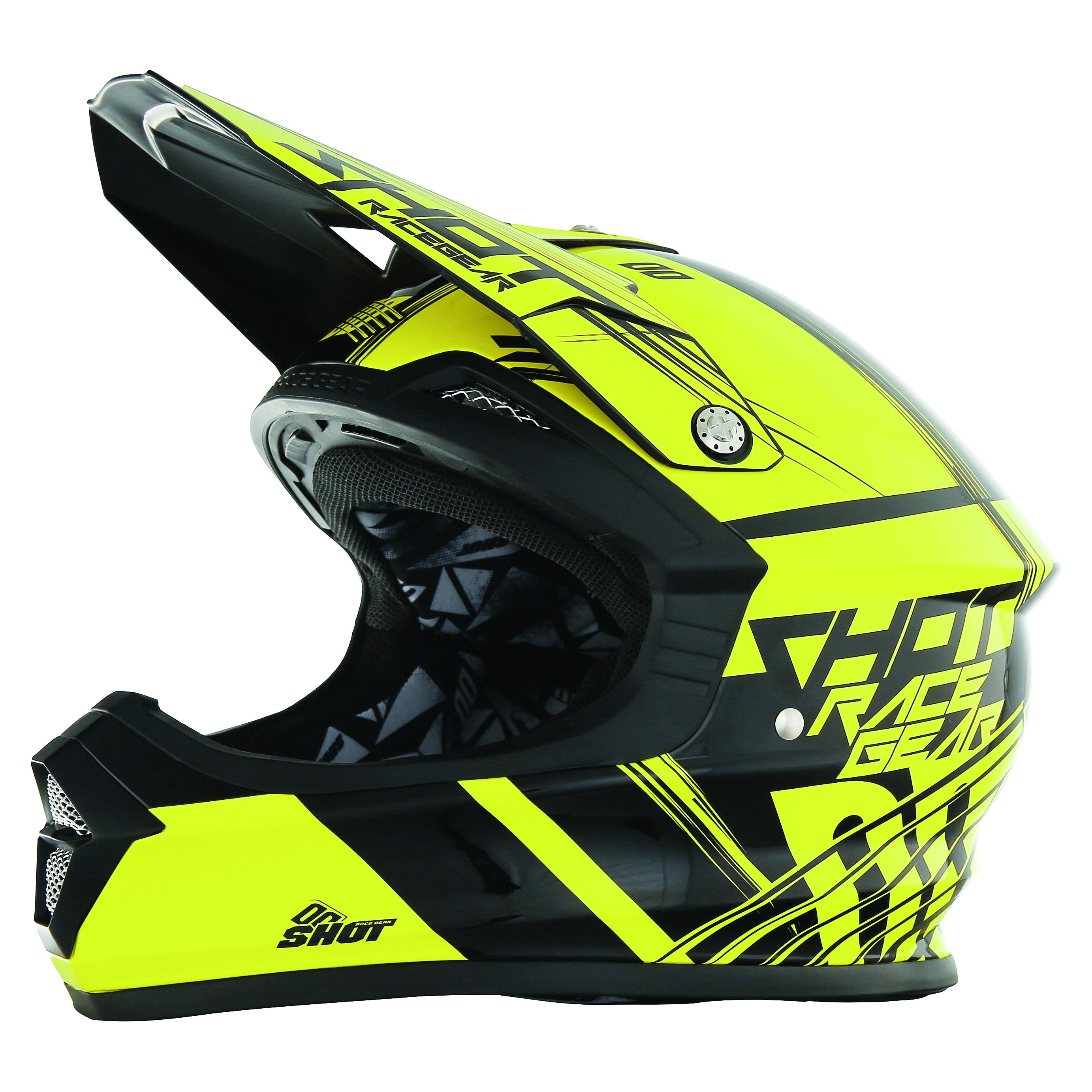 Casque cross Shot destockage FURIOUS CLAW NEON JAUNE  2017