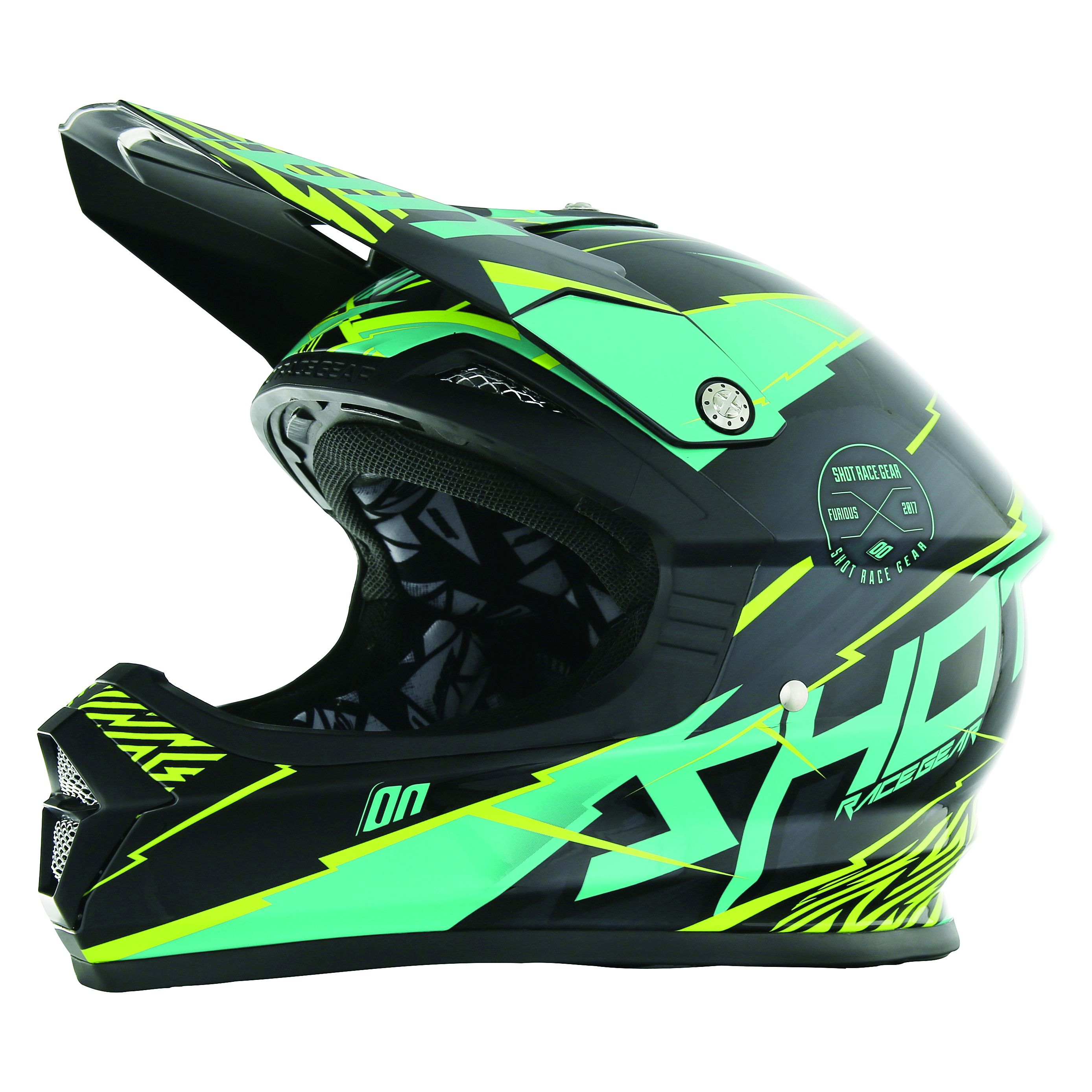 Casque cross Shot destockage FURIOUS INFINITY MINT LIME  2017