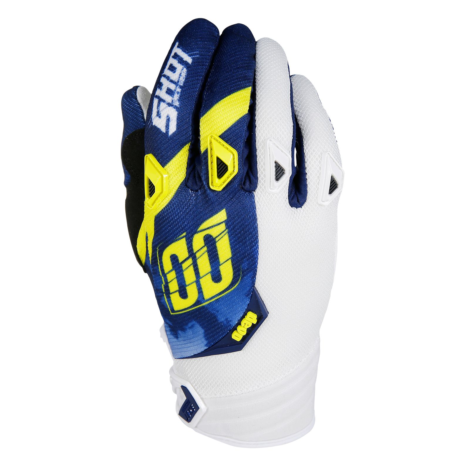 Gants cross Shot destockage DEVO SQUAD BLEU JAUNE  2017