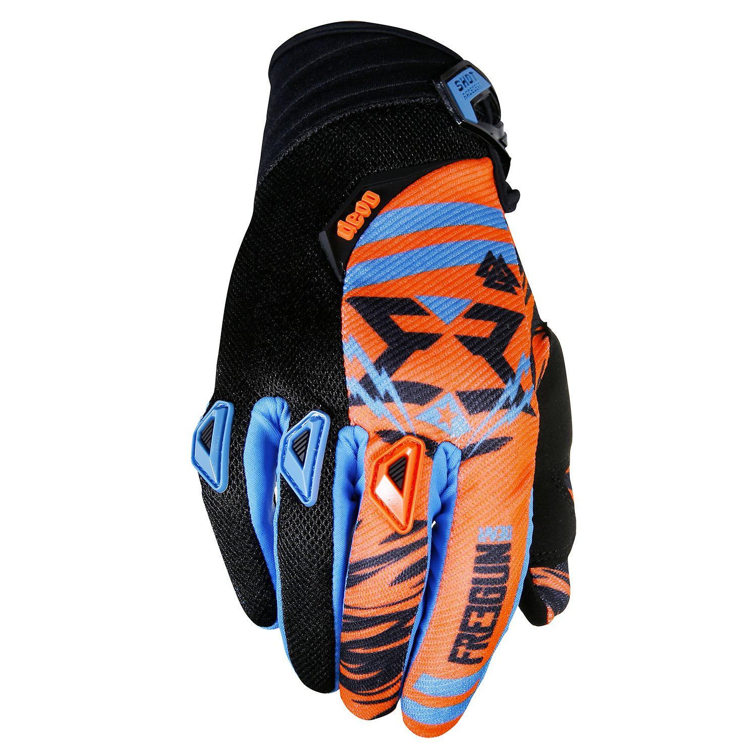 Gants cross Shot destockage DEVO TROOPER NEON ORANGE CYAN ENFANT