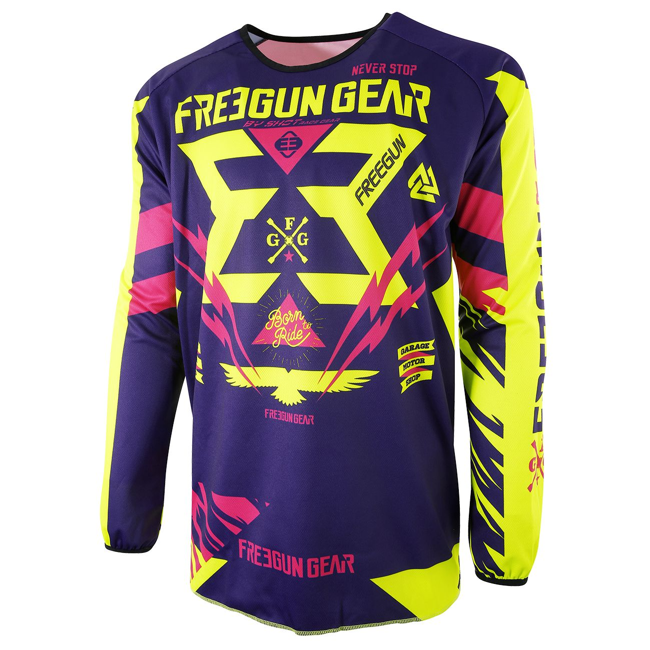 Maillot cross Shot destockage DEVO TROOPER NEON JAUNE MAGENTA ENFANT