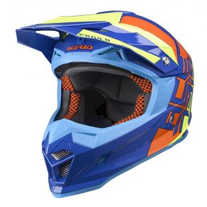Casque Cross Acerbis Profile 4 - Bleu Orange Jaune - 2019