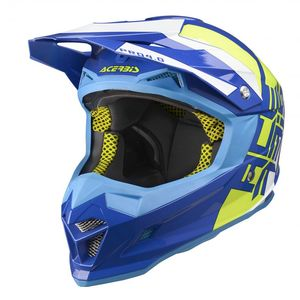 Casque Cross Acerbis Profile 4 - Bleu Jaune Blanc - 2019