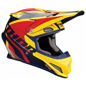 Casque Cross Thor Sector - Ricochet - Bleu Jaune - 2019