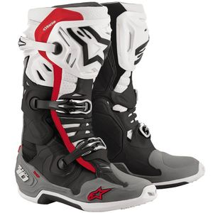 Bottes cross TECH 10 - SUPERVENTED - BLACK WHITE MID GRAY RED 2021 Black White Mid Gray Red