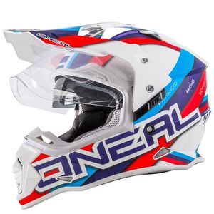 Casque cross SIERRA II - CIRCUIT - WHITE BLUE GLOSSY  Blanc