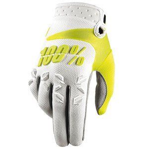 Gants cross 100% AIRMATIC - BLANC JAUNE -  2018