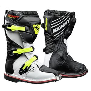Bottes Cross Kenny Track Junior - Blanc Noir Jaune Fluo 2019