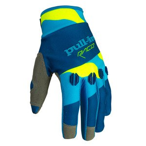 Gants Cross Pull-in Destockage Fighter Camo Bleu Jaune Fluo 2016