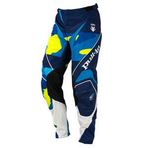 Pantalon Cross Pull-in Destockage Fighter Camo Bleu Jaune Fluo 2016
