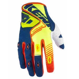 Gants Cross Kenny Destockage Titanium - Jaune Fluo / Bleu - 2017