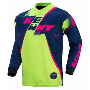 Maillot cross TRACK YOUTH - MARINE / LIME / ROSE FLUO - 2017 Bleu/Vert