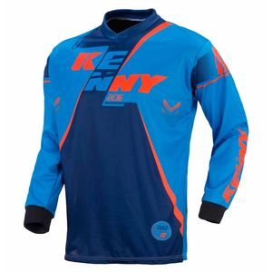 Maillot cross TRACK YOUTH - MARINE / CYAN / ORANGE FLUO - 2017 Bleu/Orange