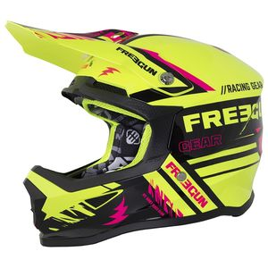 Casque cross XP-4 NERVE NEON YELLOW PINK ENFANT  Jaune