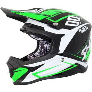 Casque cross FURIOUS ALERT - BLACK GREEN GLOSS 2018 Noir/Vert