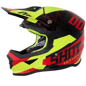 Casque cross FURIOUS SPECTRE - - RED NEON YELLOW GLOSS 2018 Rouge