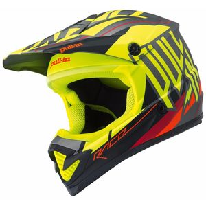 Casque Cross Pull-in Moto - Jaune Fluo Mat - 2018
