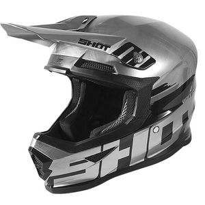 Casque cross FURIOUS - BRUSH - METALLIC SILVER BLACK GLOSSY 2020 Silver Glossy