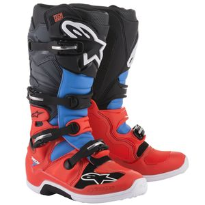 Bottes Cross Alpinestars Tech 7 Red Fluo Cyan Gray Black 2018