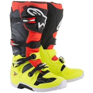 Bottes cross TECH 7 YELLOW FLUO RED FLUO GRAY BLACK  2018 Yellow/Red