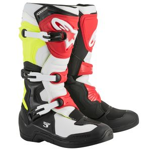 Bottes cross TECH 3 BLACK WHITE YELLOW FLUO RED  2018 Black/yellow