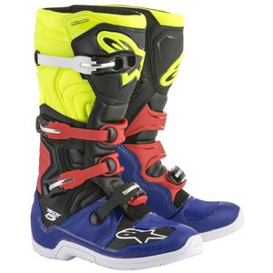 Bottes cross TECH 5 BLUE BLACK YELLOW FLUO RED  2018 Blue