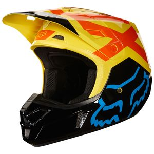 Casque Cross Fox V2 Preme - Noir Jaune - 2018