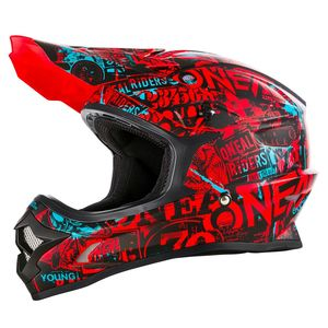 Casque cross 3 SERIES ATTACK - ROUGE NOIR BLEU - 2019 Black Red Teal