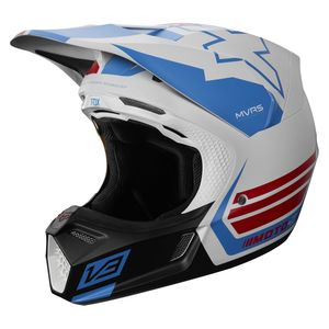 Casque Cross Fox V3 Rwt - Limited Edition - White Red Blue 2018
