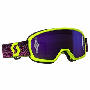Masque Cross Scott Buzz Mx Pro - Jaune Rose - Ecran Iridium Works - 2018