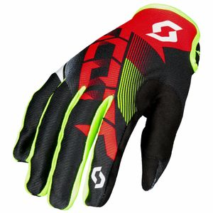 Gants cross 350 DIRT JUNIOR - ROUGE NOIR -  Rouge/Jaune