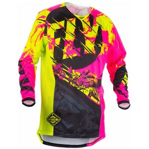 Maillot cross KINETIC OUTLAW - ROSE JAUNE FLUO -  2018 Rose/Jaune