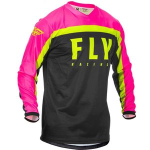 Maillot cross F-16 RIDING NEON PINK BLACK HI-VIS 2020 Pink/Black