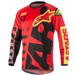 Maillot cross RACER BRAAP RED BLACK YELLOW FLUO  2018 Red/Black