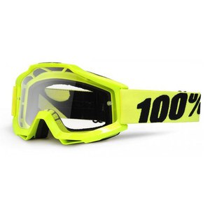 Masque Cross 100% Accuri Junior - Jaune Fluo - Ecran Clair - 2018